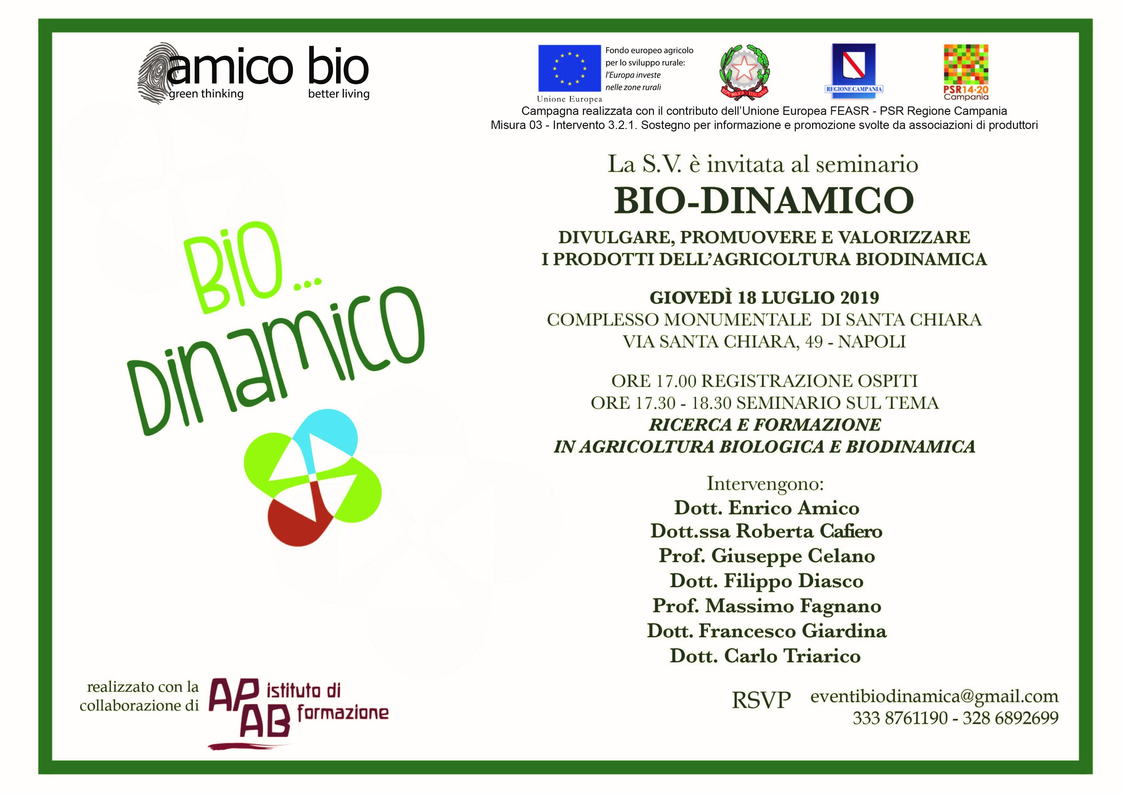 Bio…Dinamico terzo seminario a Napoli il 18 luglio 2019